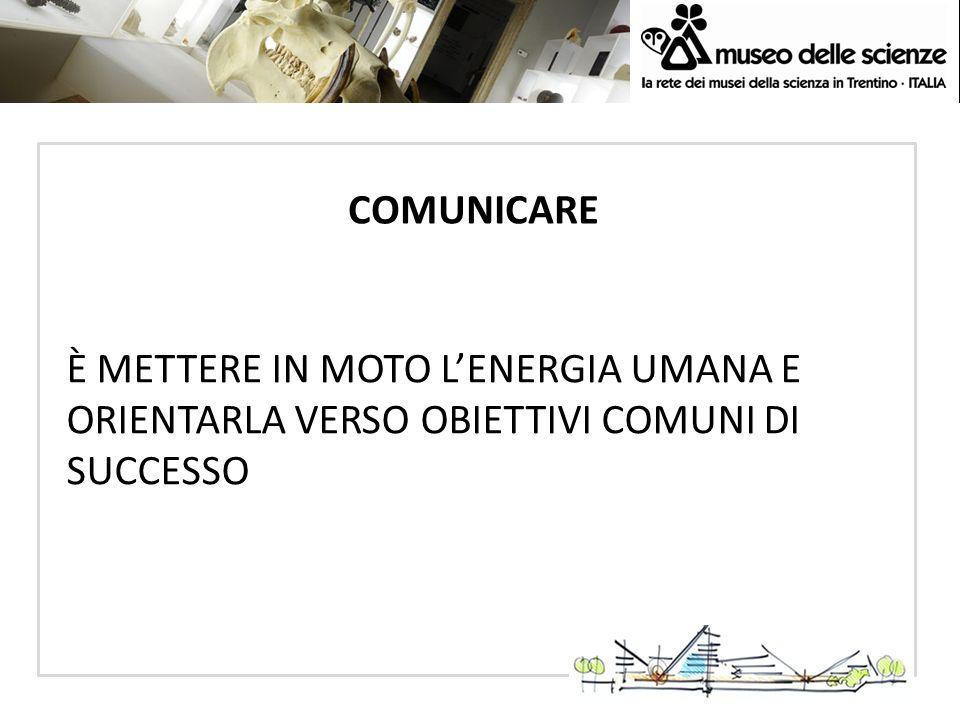 COMUNICARE È METTERE IN MOTO L'ENERGIA UMANA E ORIENTARLA VERSO OBIETTIVI COMUNI DI SUCCESSO