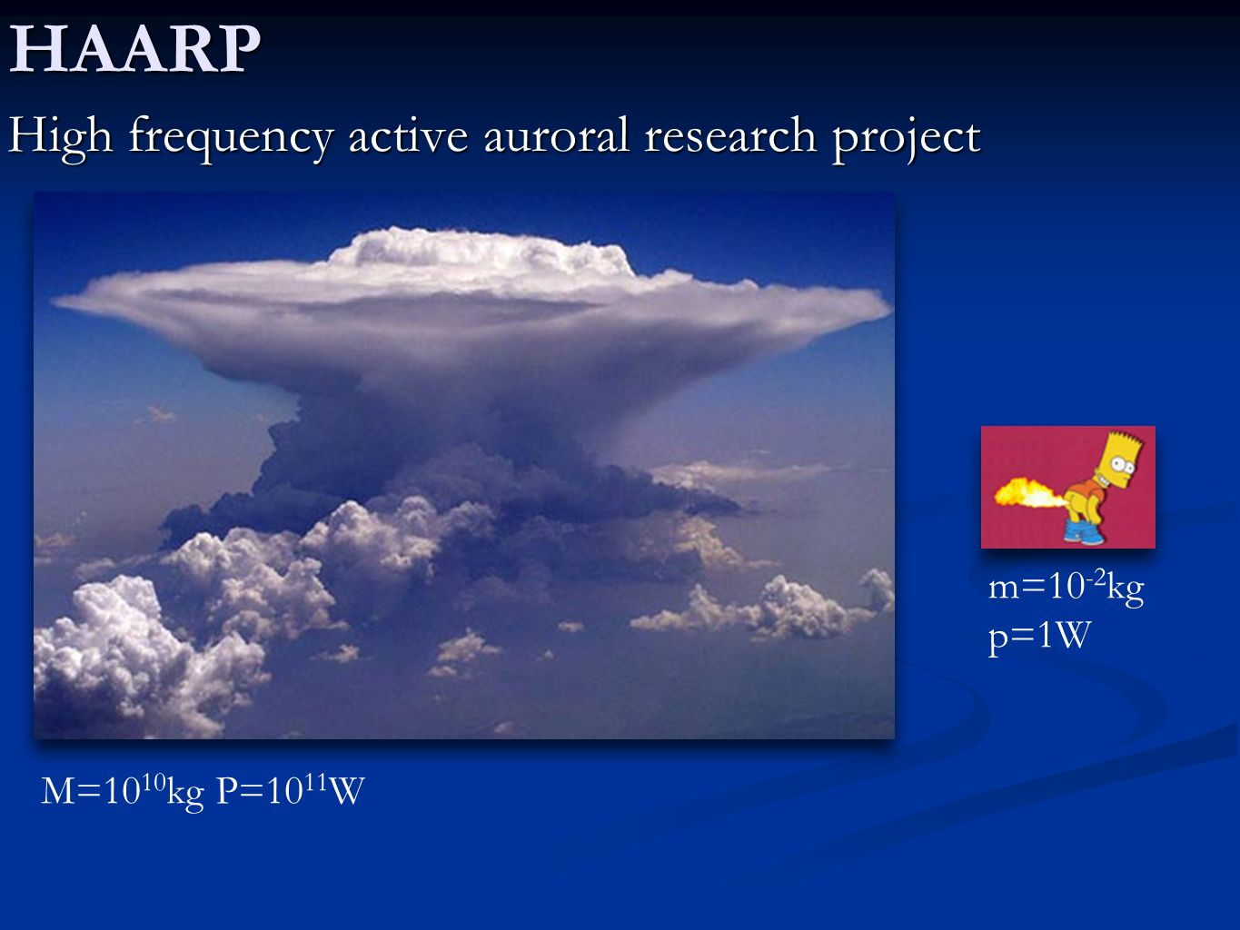 HAARP High frequency active auroral research project m=10-2kg p=1W