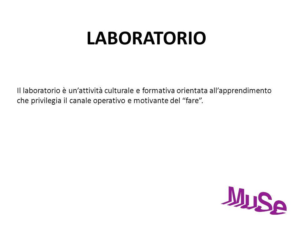 LABORATORIO Il laboratorio è un'attività culturale e formativa orientata all'apprendimento che privilegia il canale operativo e motivante del fare .