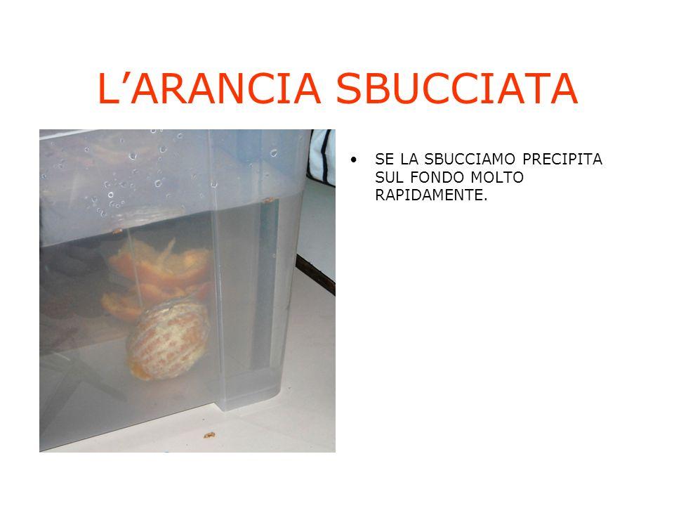 L'ARANCIA SBUCCIATA SE LA SBUCCIAMO PRECIPITA SUL FONDO MOLTO RAPIDAMENTE.