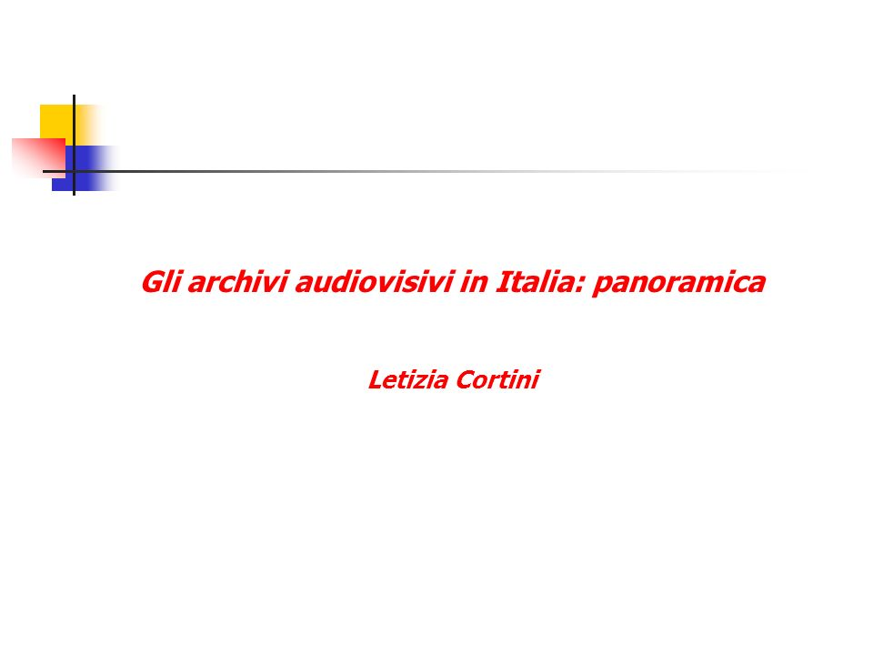 Gli archivi audiovisivi in Italia: panoramica