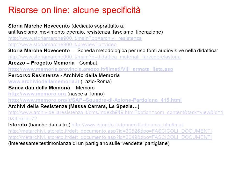 Risorse on line: alcune specificità