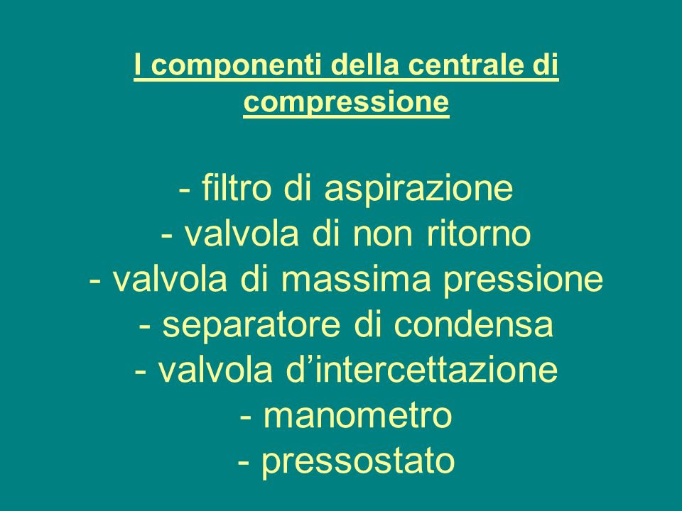 I componenti della centrale di compressione - filtro di aspirazione - valvola di non ritorno - valvola di massima pressione - separatore di condensa - valvola d'intercettazione - manometro - pressostato