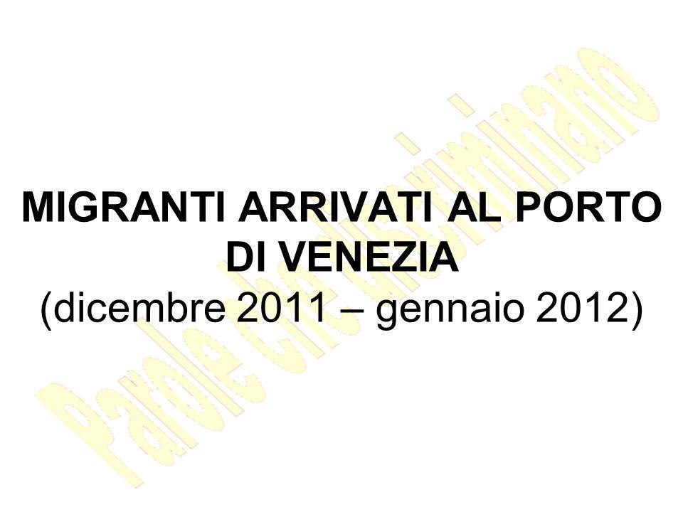 MIGRANTI ARRIVATI AL PORTO DI VENEZIA (dicembre 2011 – gennaio 2012)