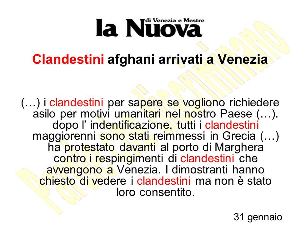 Clandestini afghani arrivati a Venezia