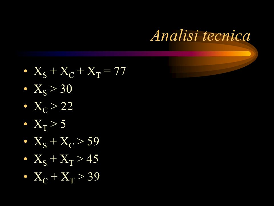 Analisi tecnica XS + XC + XT = 77 XS > 30 XC > 22 XT > 5