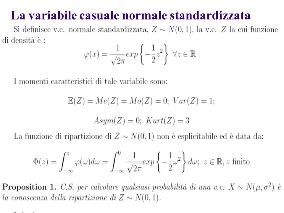 La variabile casuale normale standardizzata