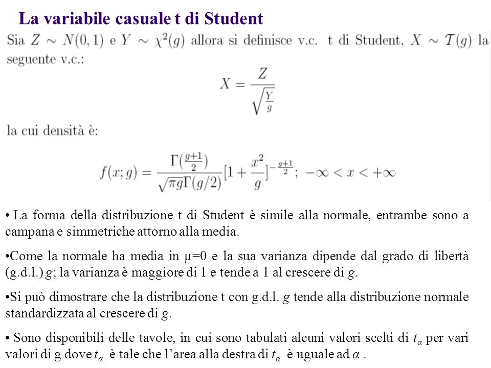 La variabile casuale t di Student