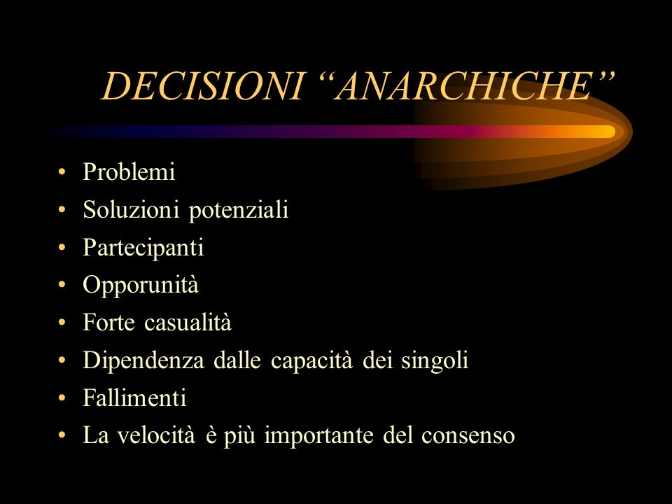 DECISIONI ANARCHICHE