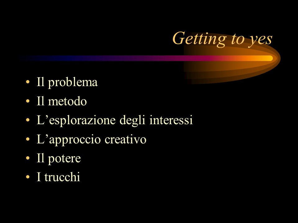 Getting to yes Il problema Il metodo L'esplorazione degli interessi