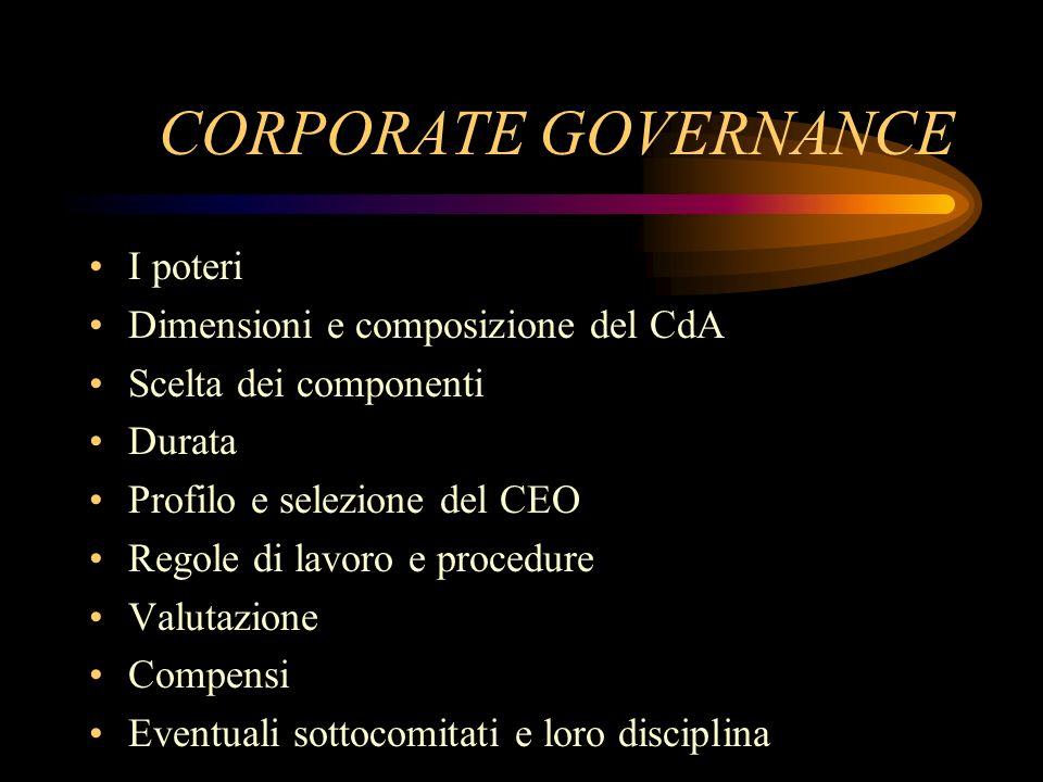 CORPORATE GOVERNANCE I poteri Dimensioni e composizione del CdA