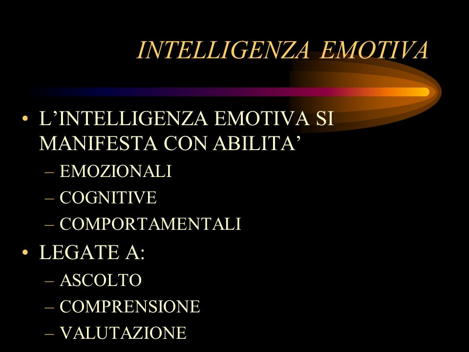 INTELLIGENZA EMOTIVA L'INTELLIGENZA EMOTIVA SI MANIFESTA CON ABILITA'