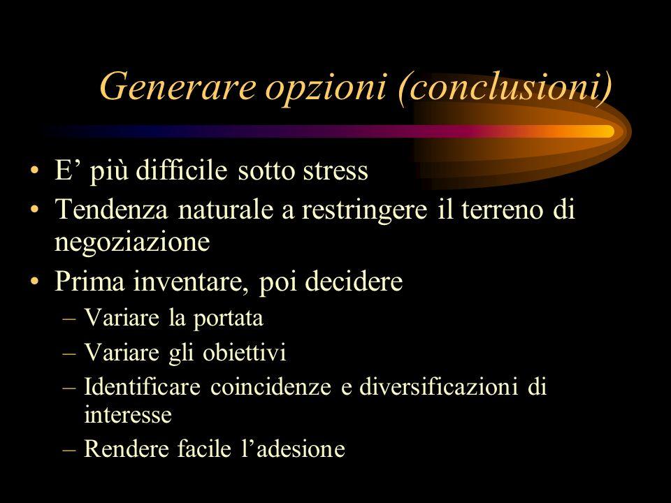 Generare opzioni (conclusioni)