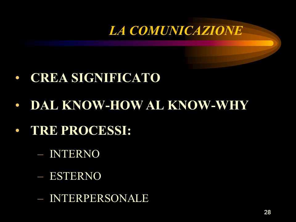 DAL KNOW-HOW AL KNOW-WHY TRE PROCESSI: