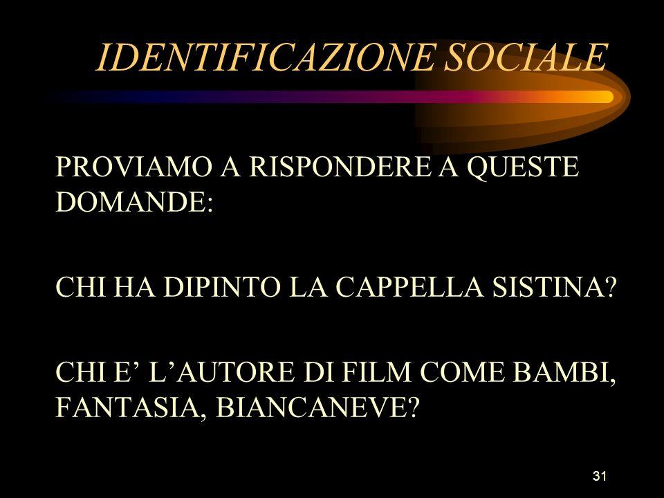 IDENTIFICAZIONE SOCIALE