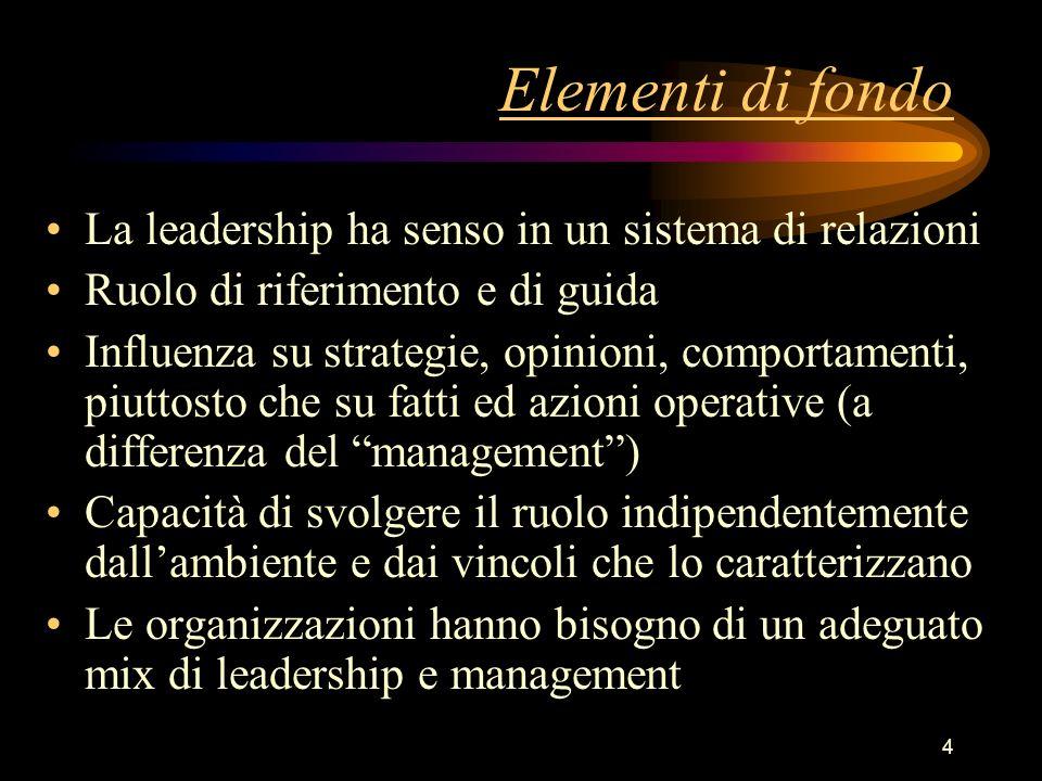 Elementi di fondo La leadership ha senso in un sistema di relazioni