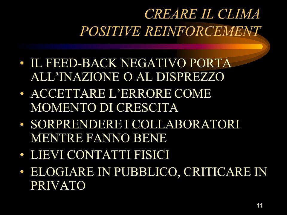 CREARE IL CLIMA POSITIVE REINFORCEMENT