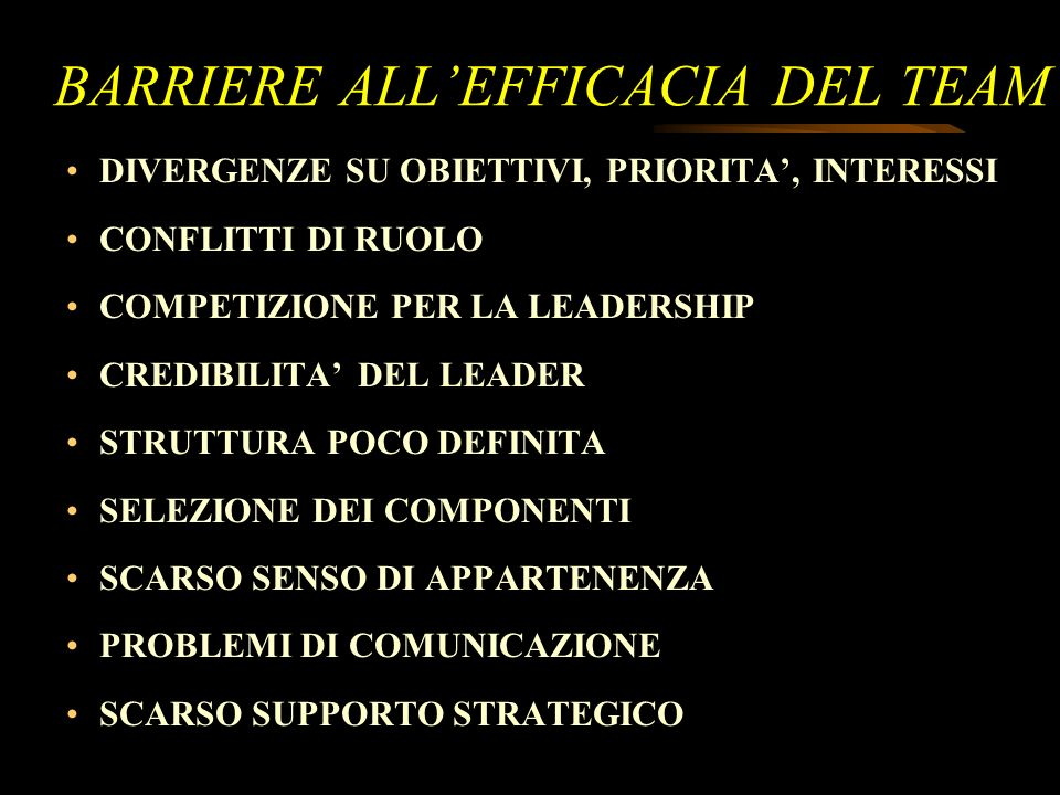 BARRIERE ALL'EFFICACIA DEL TEAM