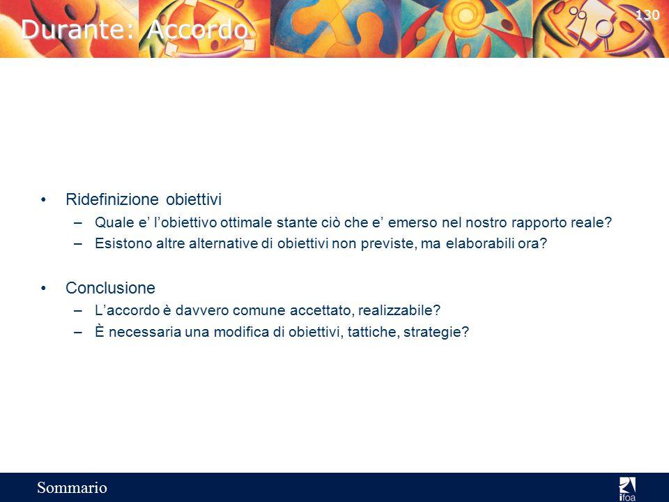 Durante: Accordo Ridefinizione obiettivi Conclusione