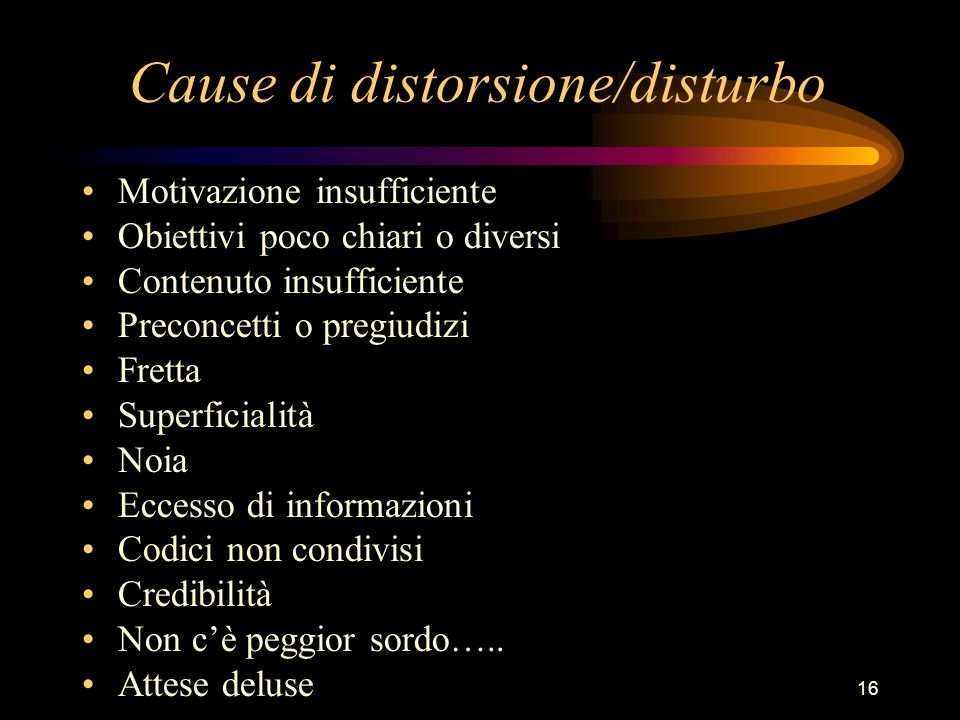 Cause di distorsione/disturbo