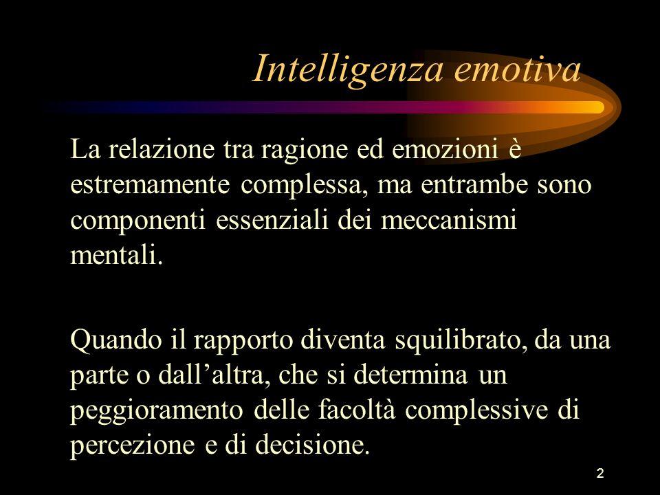 Intelligenza emotiva La relazione tra ragione ed emozioni è estremamente complessa, ma entrambe sono componenti essenziali dei meccanismi mentali.