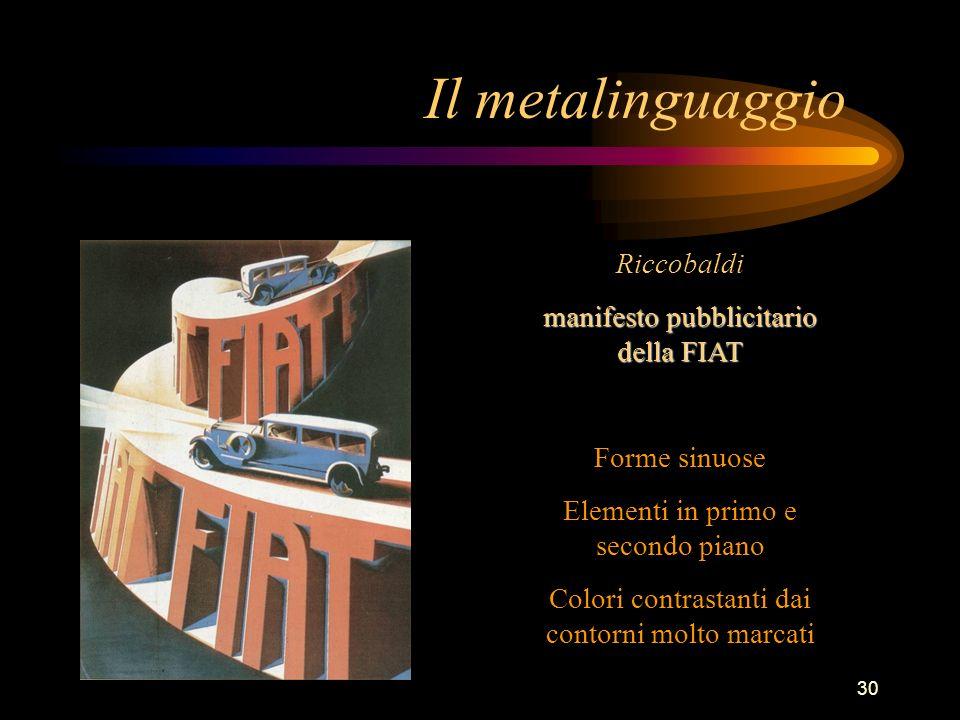 Il metalinguaggio Riccobaldi manifesto pubblicitario della FIAT