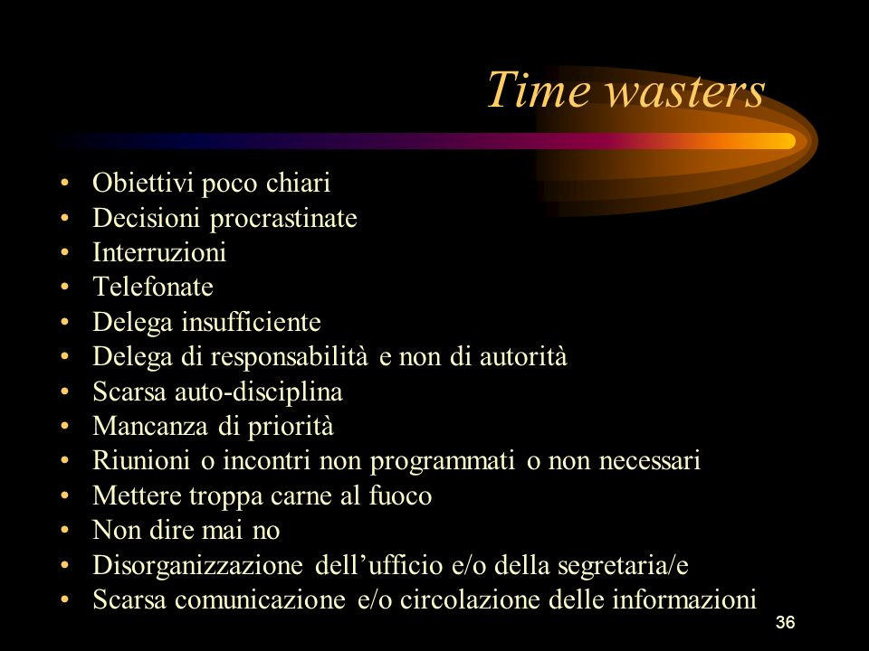 Time wasters Obiettivi poco chiari Decisioni procrastinate