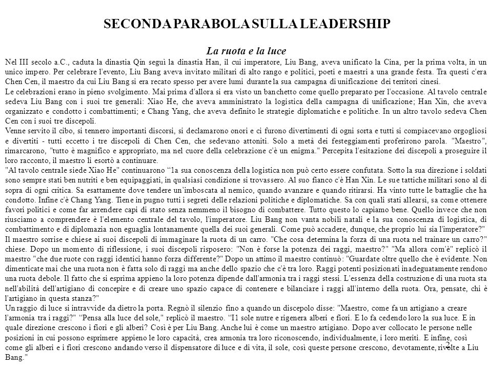 SECONDA PARABOLA SULLA LEADERSHIP