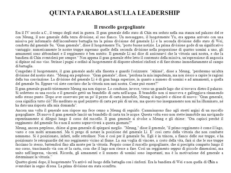 QUINTA PARABOLA SULLA LEADERSHIP