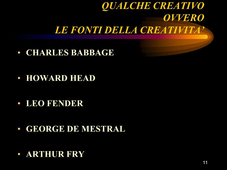 QUALCHE CREATIVO OVVERO LE FONTI DELLA CREATIVITA'
