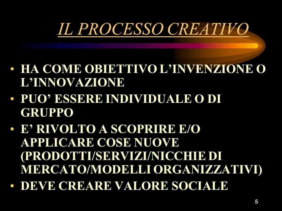 IL PROCESSO CREATIVO HA COME OBIETTIVO L'INVENZIONE O L'INNOVAZIONE