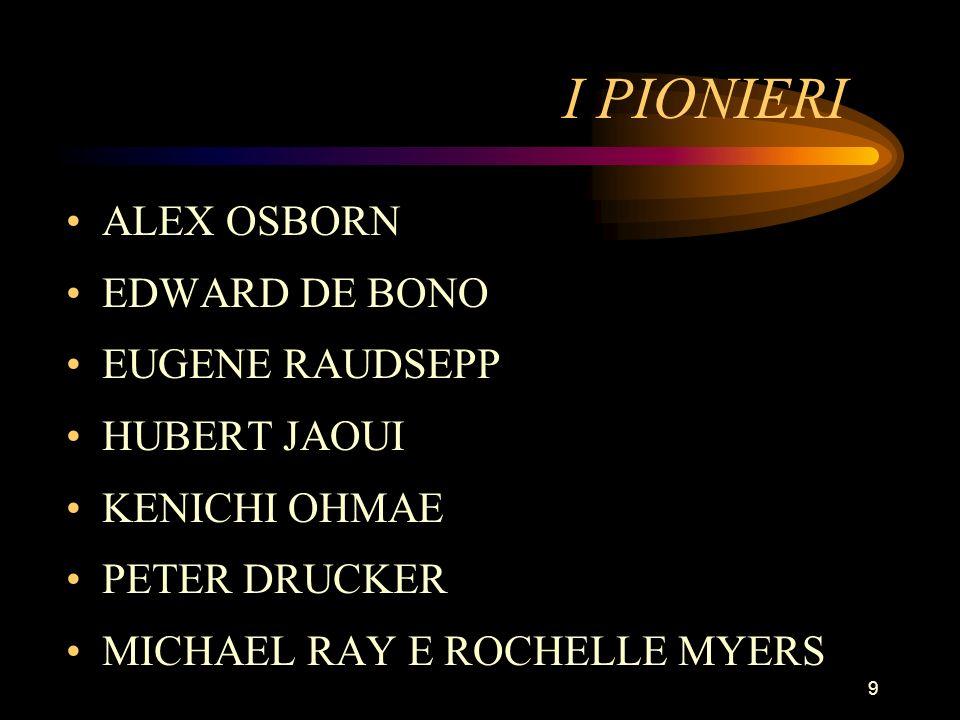 I PIONIERI ALEX OSBORN EDWARD DE BONO EUGENE RAUDSEPP HUBERT JAOUI
