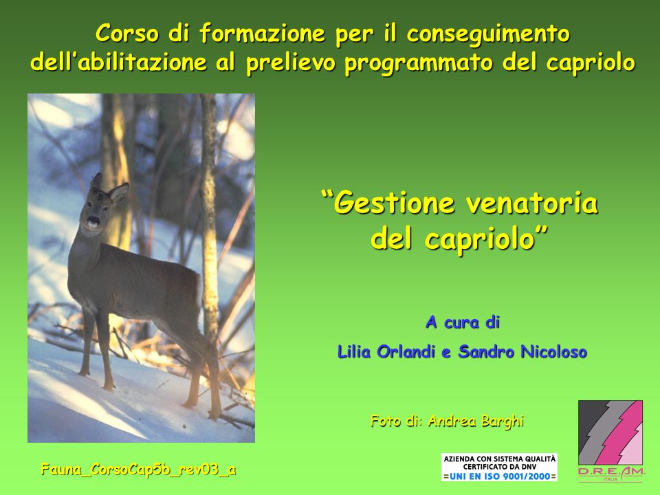 Gestione venatoria del capriolo Lilia Orlandi e Sandro Nicoloso