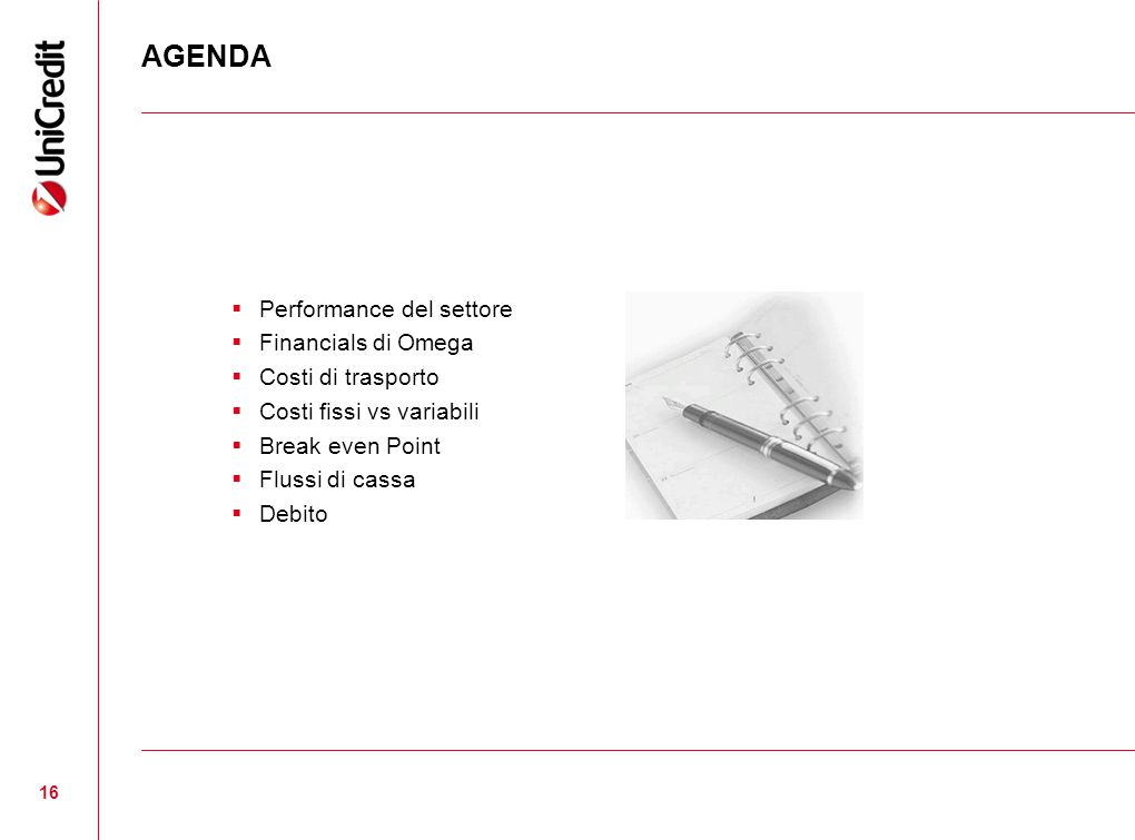 AGENDA Performance del settore Financials di Omega Costi di trasporto