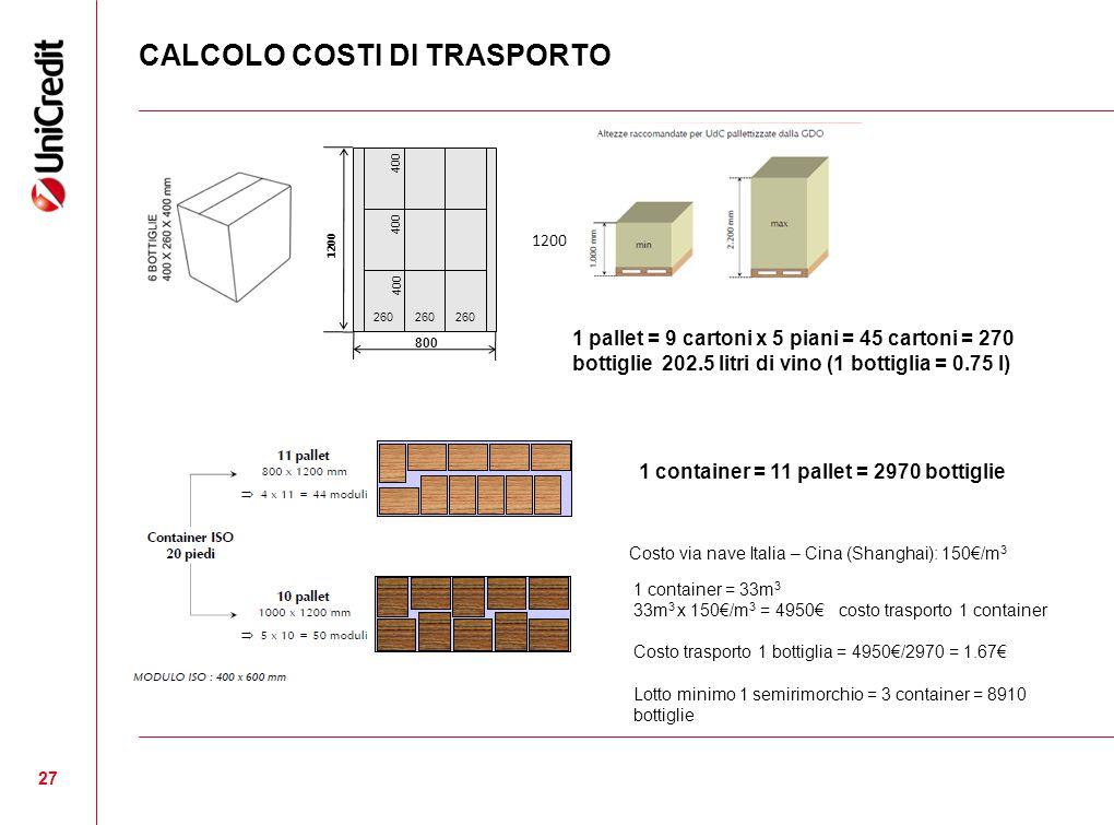 CALCOLO COSTI DI TRASPORTO