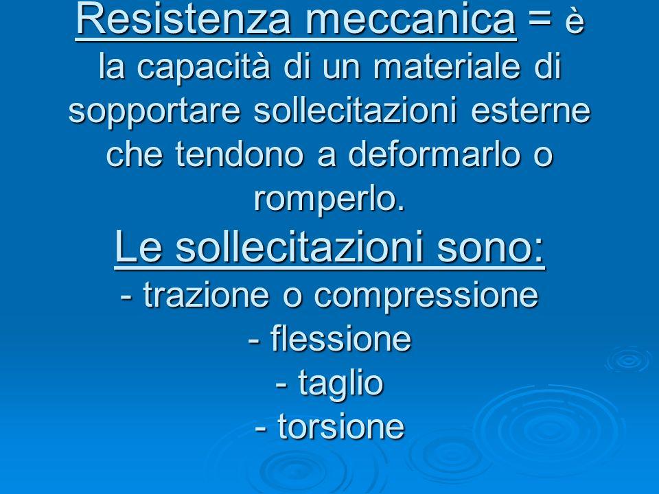 Resistenza meccanica = è la capacità di un materiale di sopportare sollecitazioni esterne che tendono a deformarlo o romperlo.