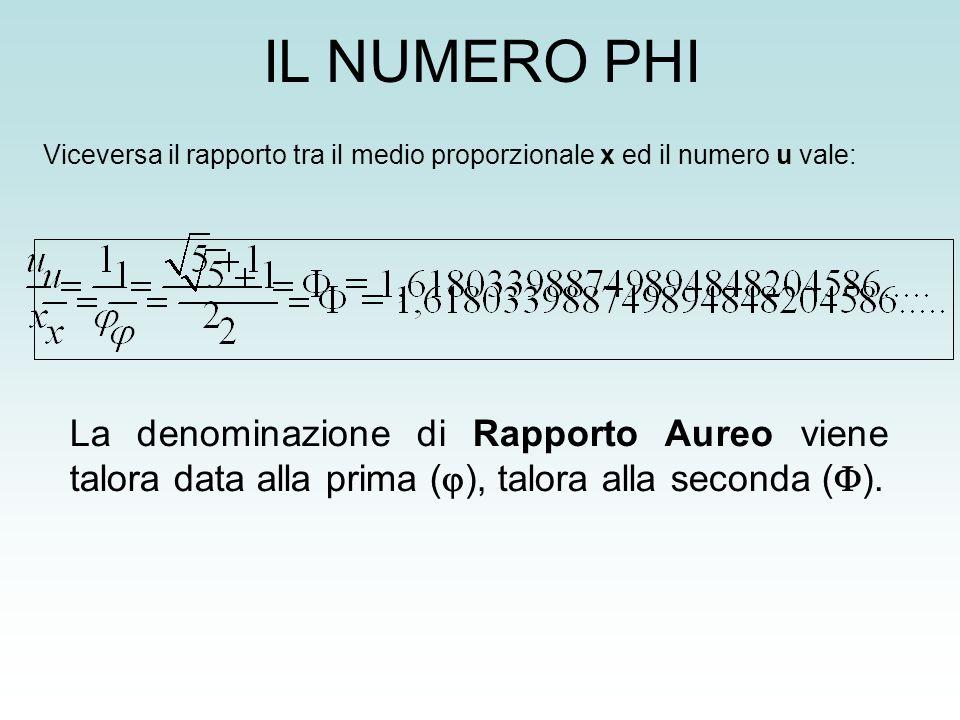 IL NUMERO PHI Viceversa il rapporto tra il medio proporzionale x ed il numero u vale:
