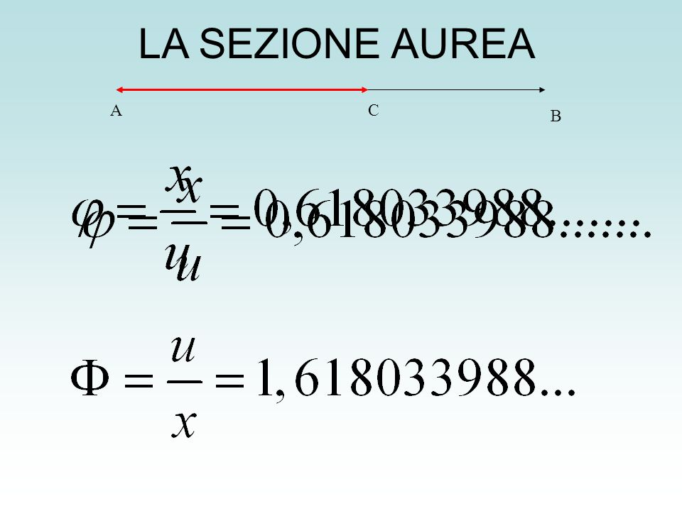 LA SEZIONE AUREAA. C. B. Definizione di sezione aurea di un segmento AB e calcolo del numero phi. Vedi: LA SEZIONE AUREA quad_06.pdf.