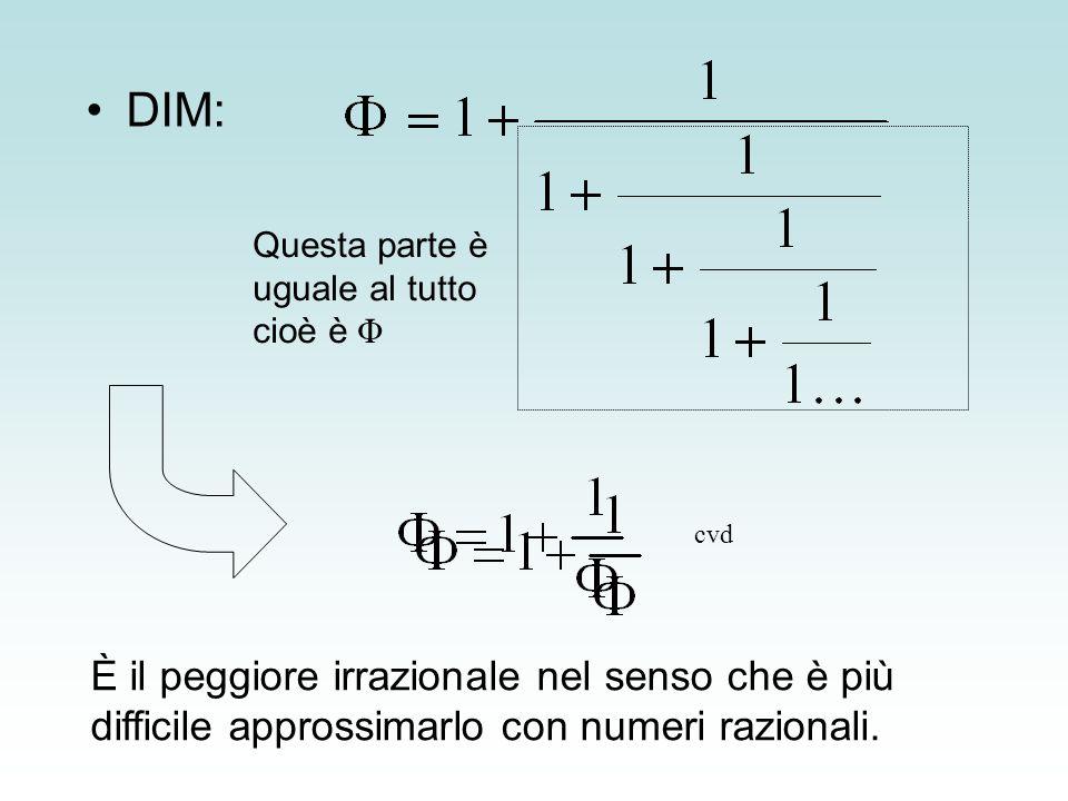 DIM: Questa parte è uguale al tutto cioè è Φ. cvd. Spiegare cosa sono i numeri irrazionali.