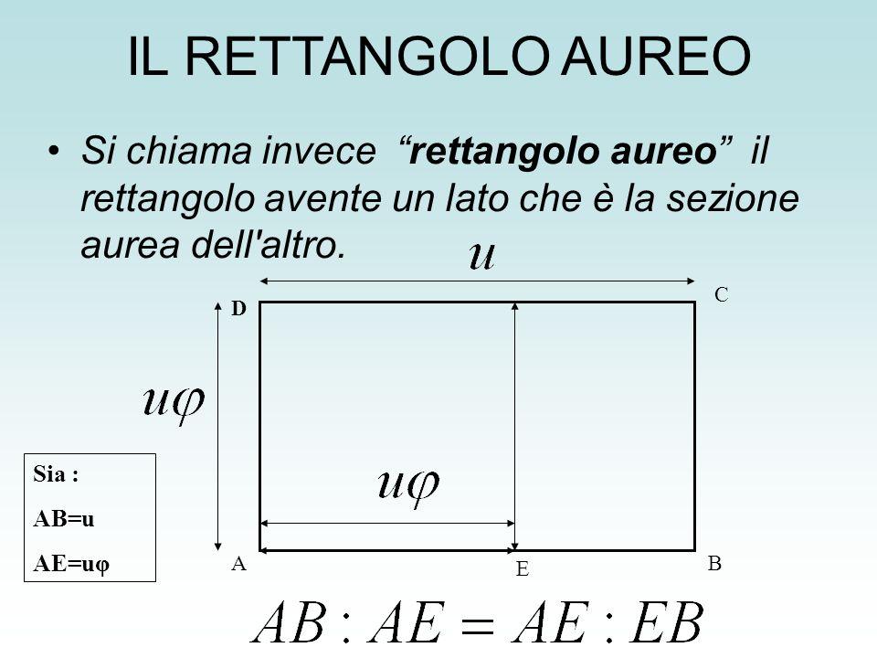 IL RETTANGOLO AUREO Si chiama invece rettangolo aureo il rettangolo avente un lato che è la sezione aurea dell altro.
