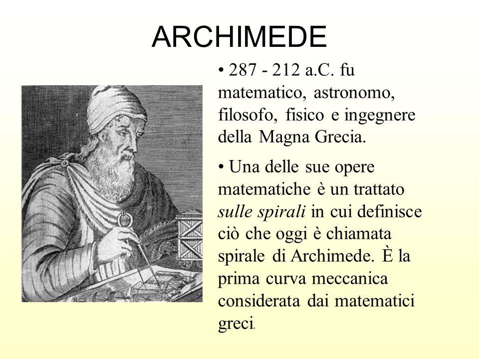 ARCHIMEDE 287 - 212 a.C. fu matematico, astronomo, filosofo, fisico e ingegnere della Magna Grecia.