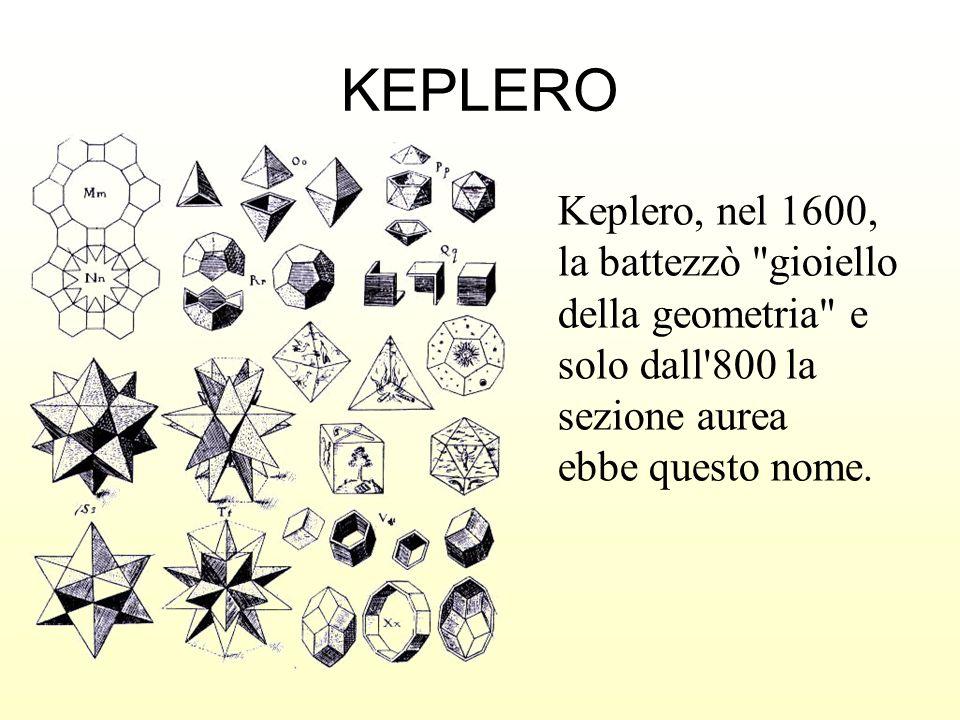 KEPLERO Keplero, nel 1600, la battezzò gioiello della geometria e solo dall 800 la sezione aurea.