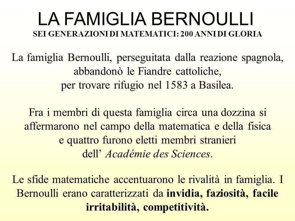 LA FAMIGLIA BERNOULLISEI GENERAZIONI DI MATEMATICI: 200 ANNI DI GLORIA.