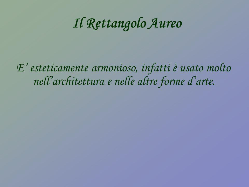 Il Rettangolo Aureo E' esteticamente armonioso, infatti è usato molto nell'architettura e nelle altre forme d'arte.