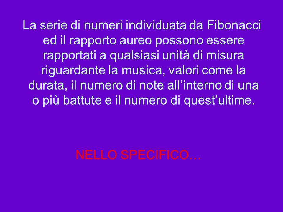 La serie di numeri individuata da Fibonacci ed il rapporto aureo possono essere rapportati a qualsiasi unità di misura riguardante la musica, valori come la durata, il numero di note all'interno di una o più battute e il numero di quest'ultime.