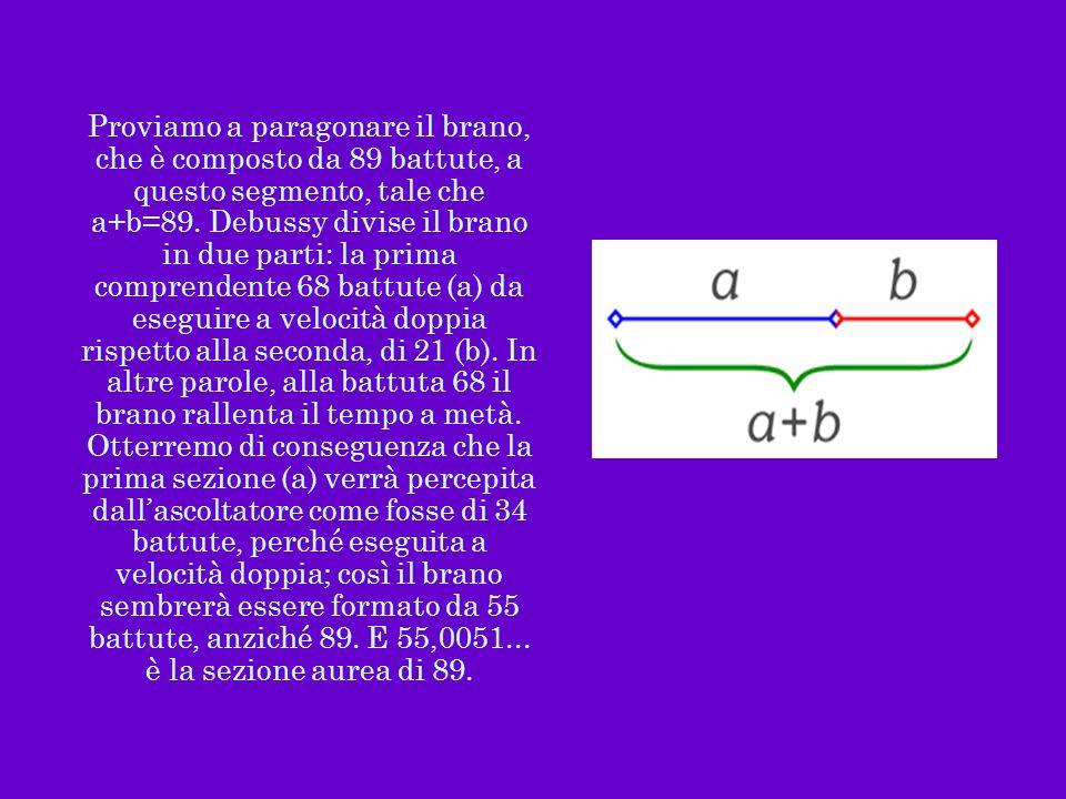 Proviamo a paragonare il brano, che è composto da 89 battute, a questo segmento, tale che a+b=89.