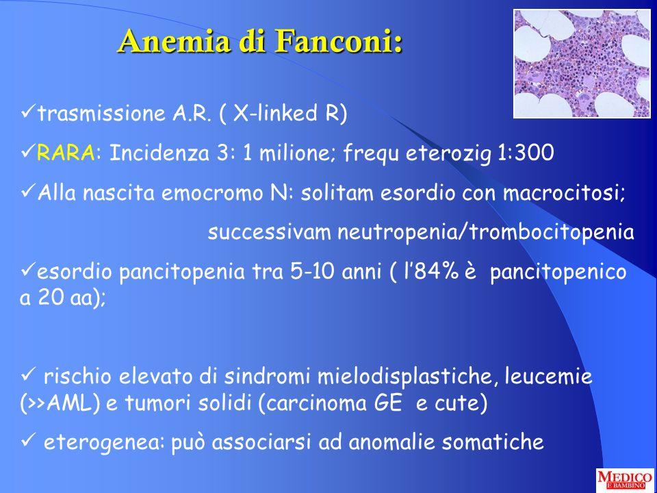 Anemia di Fanconi: trasmissione A.R. ( X-linked R)