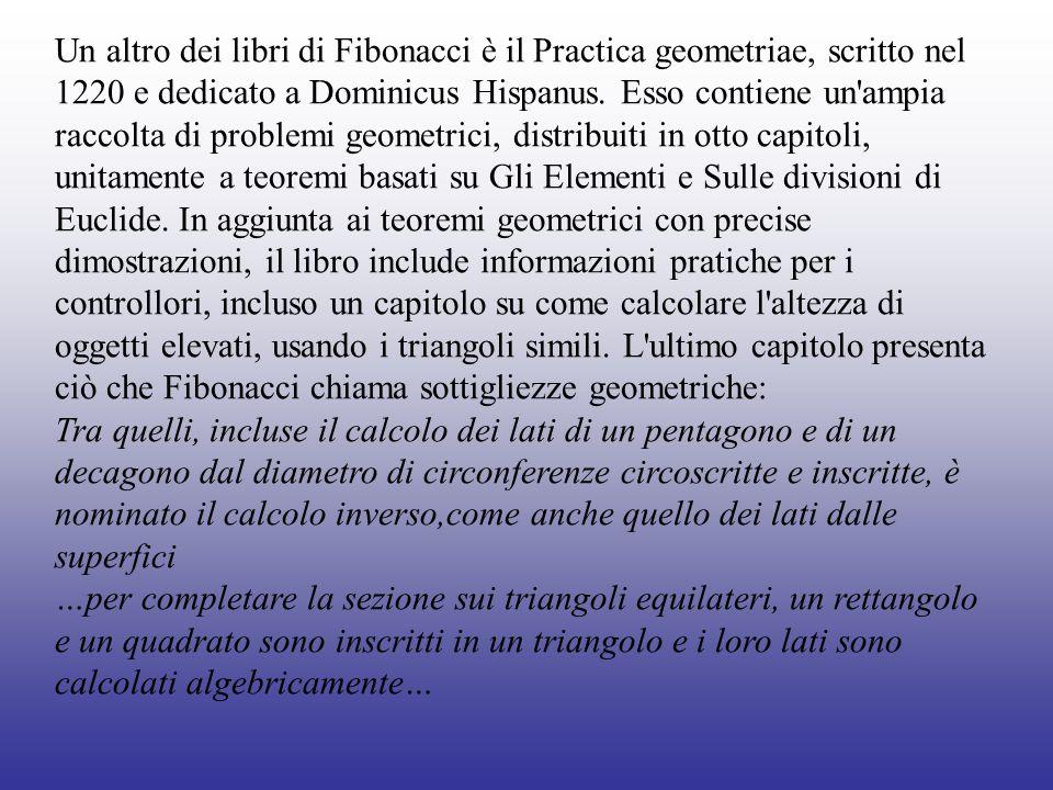 Un altro dei libri di Fibonacci è il Practica geometriae, scritto nel 1220 e dedicato a Dominicus Hispanus. Esso contiene un ampia raccolta di problemi geometrici, distribuiti in otto capitoli, unitamente a teoremi basati su Gli Elementi e Sulle divisioni di Euclide. In aggiunta ai teoremi geometrici con precise dimostrazioni, il libro include informazioni pratiche per i controllori, incluso un capitolo su come calcolare l altezza di oggetti elevati, usando i triangoli simili. L ultimo capitolo presenta ciò che Fibonacci chiama sottigliezze geometriche: