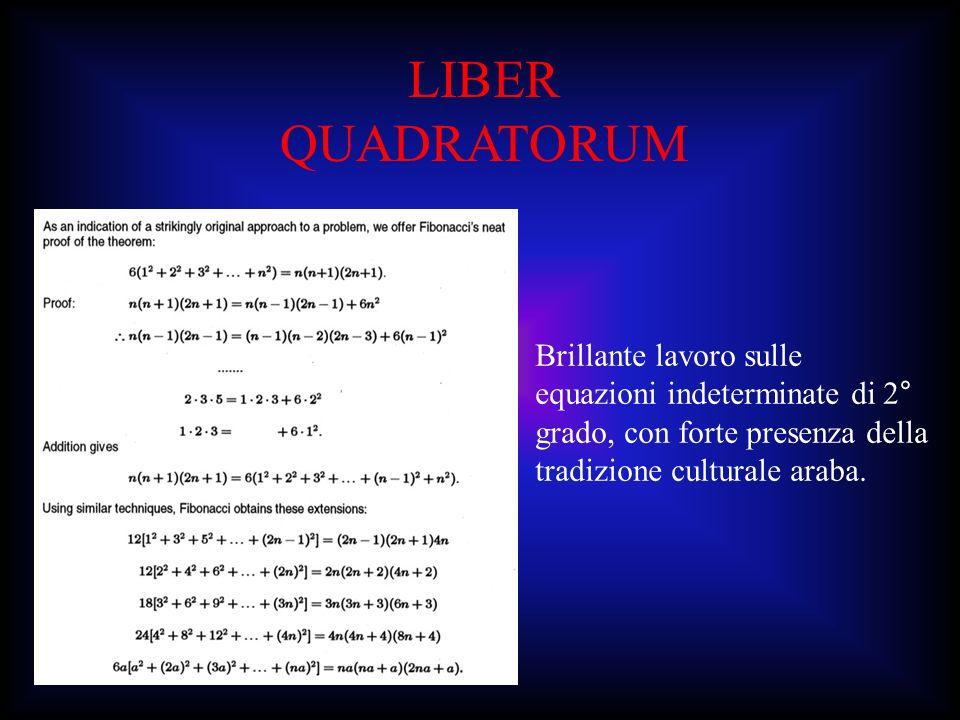 LIBER QUADRATORUMBrillante lavoro sulle equazioni indeterminate di 2° grado, con forte presenza della tradizione culturale araba.