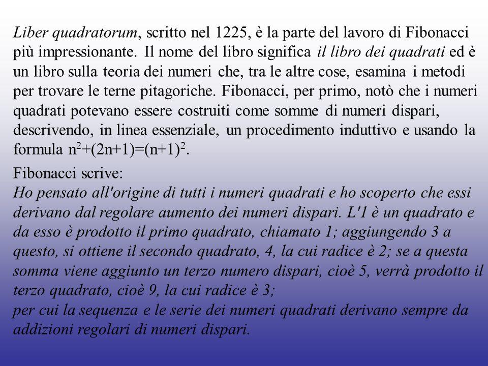 Liber quadratorum, scritto nel 1225, è la parte del lavoro di Fibonacci più impressionante. Il nome del libro significa il libro dei quadrati ed è un libro sulla teoria dei numeri che, tra le altre cose, esamina i metodi per trovare le terne pitagoriche. Fibonacci, per primo, notò che i numeri quadrati potevano essere costruiti come somme di numeri dispari, descrivendo, in linea essenziale, un procedimento induttivo e usando la formula n2+(2n+1)=(n+1)2.